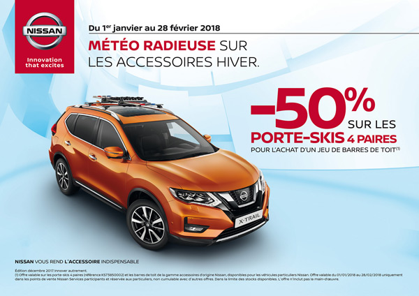 offre promo nissan porte skis barres de toit. Black Bedroom Furniture Sets. Home Design Ideas